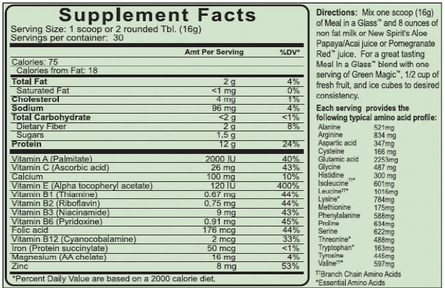Meal In A Glass Supplement Facts